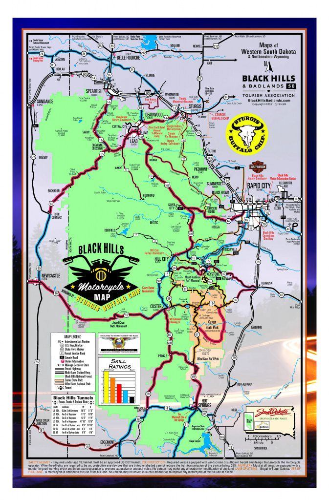 Black Hills Motorcycle Rides Map - 2021 Sturgis Rally edition